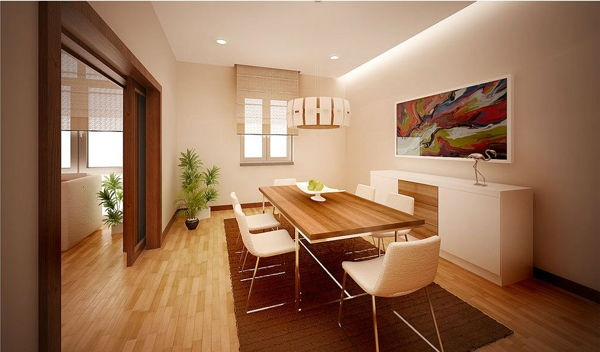 bt dining room concept with wooden furniture
