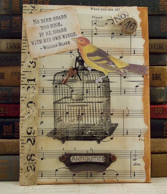 Mixed Media Collage Art William Blake Quote 3D Assemblage Bird Cage