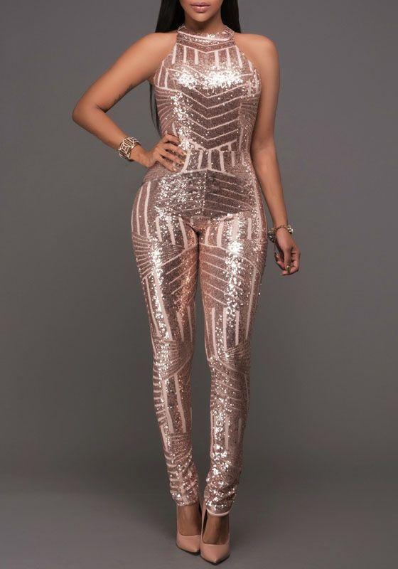 5e023261ecf3 Champagne Geometric Sparkly Sequin Halter Neck Backless Bodysuit Clubwear  Jumpsuit