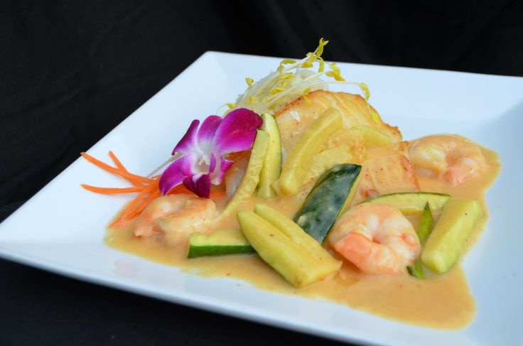 Chilean Sea Bass / red curry / zucchini + shrimp