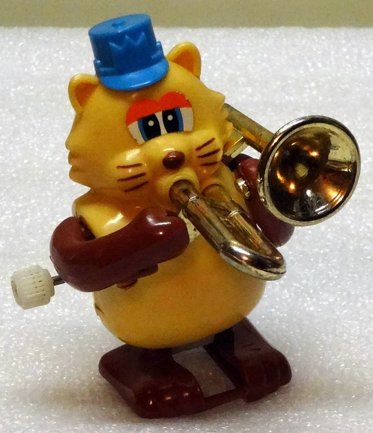 Vintage Tomy Wind Up Cat Playing A Trombone Horn | eBay ...