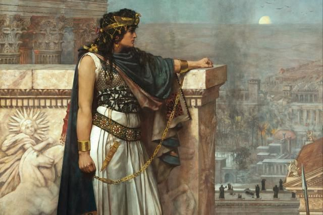 Zenobia - Warrior Queen of Palmyra: Zenobia's Last Look on Palmyra. From an 1888 Painting. Artist Herbert Gustave Schmalz.