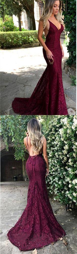 Sexy Prom Dresses,#Lace #Prom Dress,#Burgundy Prom Dresses,#2018 Prom Dresses,V Neck Prom Gown,Spaghetti Strap Prom Dresses,Long #EveningDress