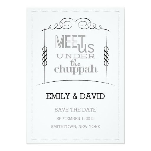 Under The Chuppah Jewish Wedding Save The Date 5x7 Paper Invitation Card