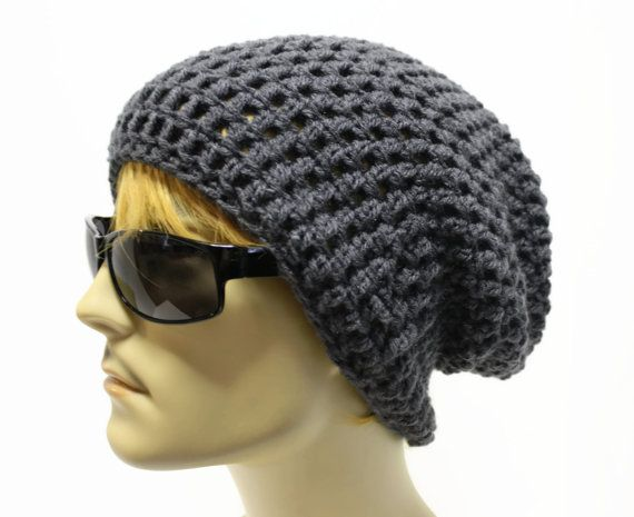 Gray Mens Slouchy Beanie Crochet Slouch Beanie Hipster Hat ...