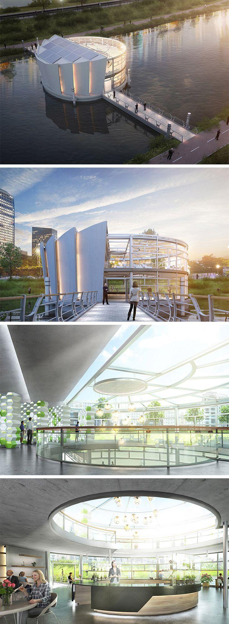 Diese schwebende Architektur heißt Lotus und ist gleichzeitig ein Ort für den Anbau von Gemüse