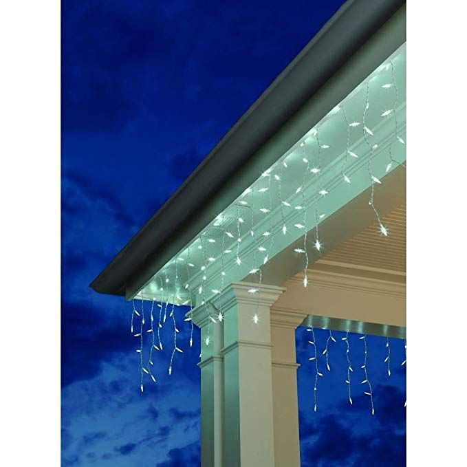 Home Accents Holiday 100 Light Led M5 Faceted Cool White Icicle Lights Review Icicle Lights Icicle Christmas Lights Seasonal Home Decor
