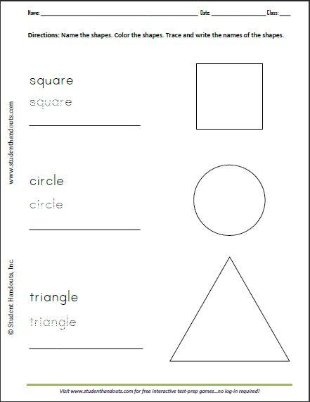 Basic Shapes Reproducible Coloring And Writing Sheet For
