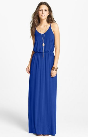 "Nordstrom: Lush Knit Maxi Dress – 25% OFF      Ultra-skinny adjustable straps top a maxi dress with a softly bloused bodice that releases to a fluid, floor-grazing skirt.     	50"" center front length (size Medium).  	Slips on over head.  	Elastic waist.  	Partially lined.  	100% rayon or 95% rayon, 5% spandex.  	Dry clean.  	By Lush; made in the USA of imported fabric.  	BP."