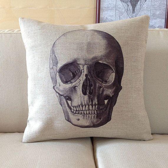 "1 cotton linen cool Skull Pillow Case / retro style home decor cushion case 18"" on Etsy, $20.00"