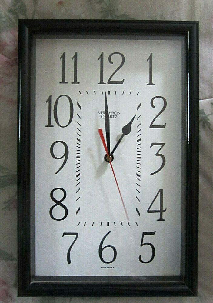 Verichron Wall Clock 14 X 9 Wood Frame Battery Quartz Movement