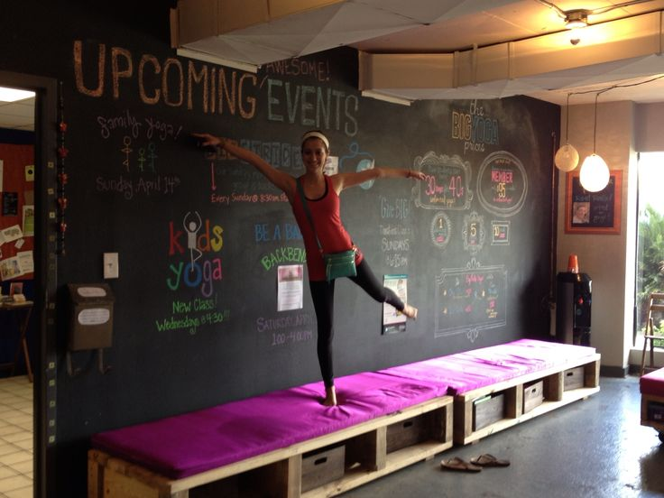 chalkboard wall in yoga studio