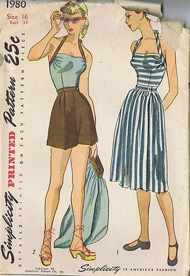 Vintage Playsuit Skirt 40s Sewing Pattern 1980 Size 16 Bust 34 Waist 28 Uncut | eBay