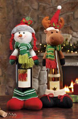 Decoración de botellas motivo Alegre Navidad