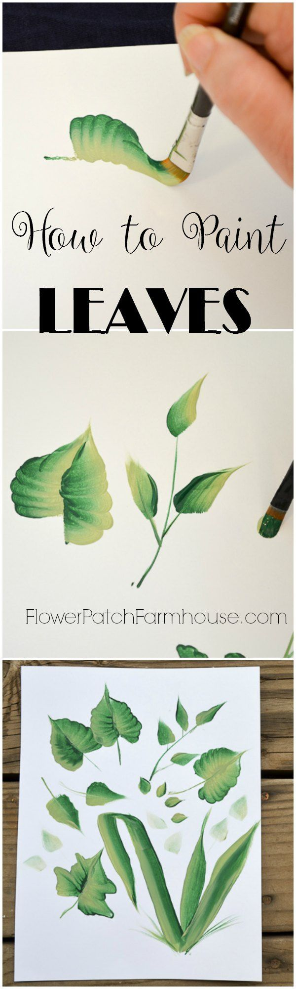 How to paint leaves one stroke at a time.  Using a flat brush and acrylic paints I show you how to paint many different types of leaves.  A video is included so you can watch how I do it.  via @FlowerpatchPam