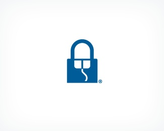 A lock together with a computer mouse make a great icon for online privacy - concept by A. William Patino aka Inkwill Design