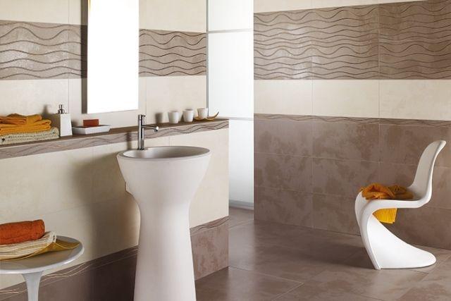 Moderne Bad Fliesen Creme Braun Dekorativ Wellenmuster