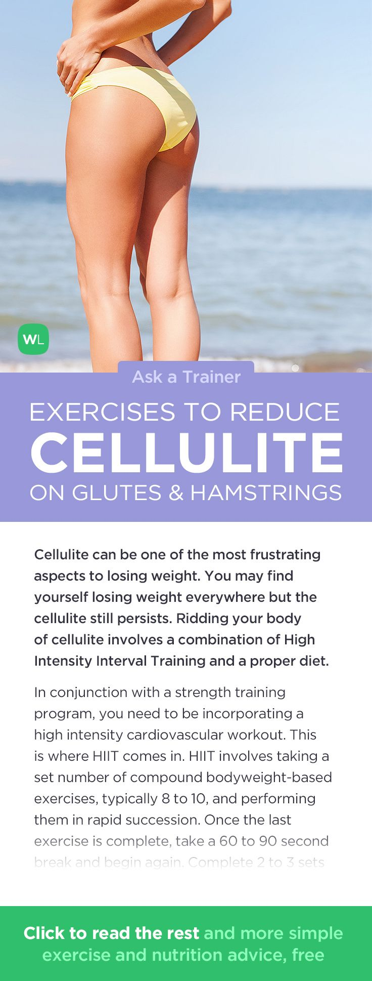 What exercises will help reduce cellulite on my glutes and hamstrings? Visit http://wlabs.me/Ye9pHq to find out!