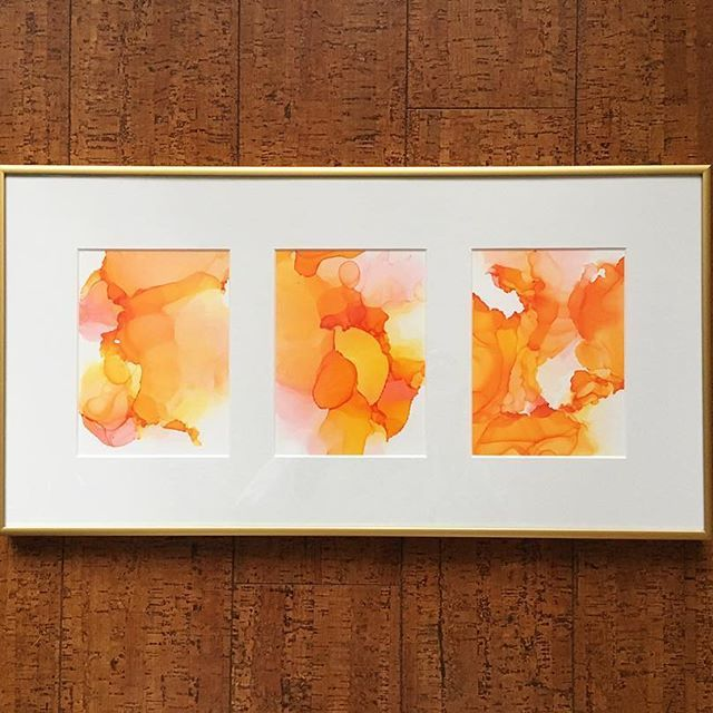 """Afterglow"" ☀️ series of 5x7 alcohol inks in a custom frame and mat by @17thavenueframing. Available ••• #artist #art #alcoholink #artwork #originalart #painting #fluidartwork #flow #madeincanada #artforsale #homedecor #decor #instaart #artistsoninstagram #abstractart #contemporaryart #yyc #calgary #yycartist #yycbusiness #yycliving #artdaily #homeinspo #artstagram #customframing"