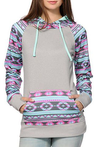 Chic Hooded Long Sleeves Geometric Print Women's HoodieSweatshirts & Hoodies | RoseGal.com
