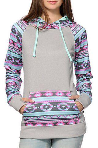 Chic Hooded Long Sleeves Geometric Print Women's HoodieSweatshirts & Hoodies   RoseGal.com