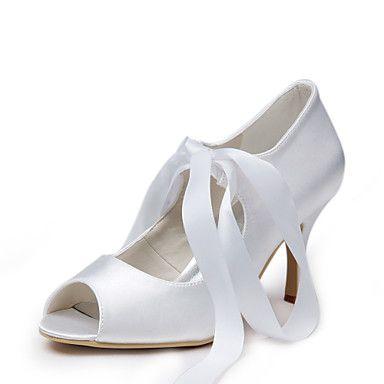 Ízléses Satin Peep Toe Körömcipők csipke-up Esküvői cipők – EUR € 57.74