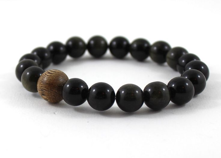 Excited to share the latest addition to my #etsy shop: Obsidian Men Beaded Bracelet, Mala Bracelet, Worry Beads Sandalwood Wood Bracelet, Yoga Meditation Chakra Bracelet, Energy Get Well Recovery #jewelry #bracelet #black #brown #birthday #boho
