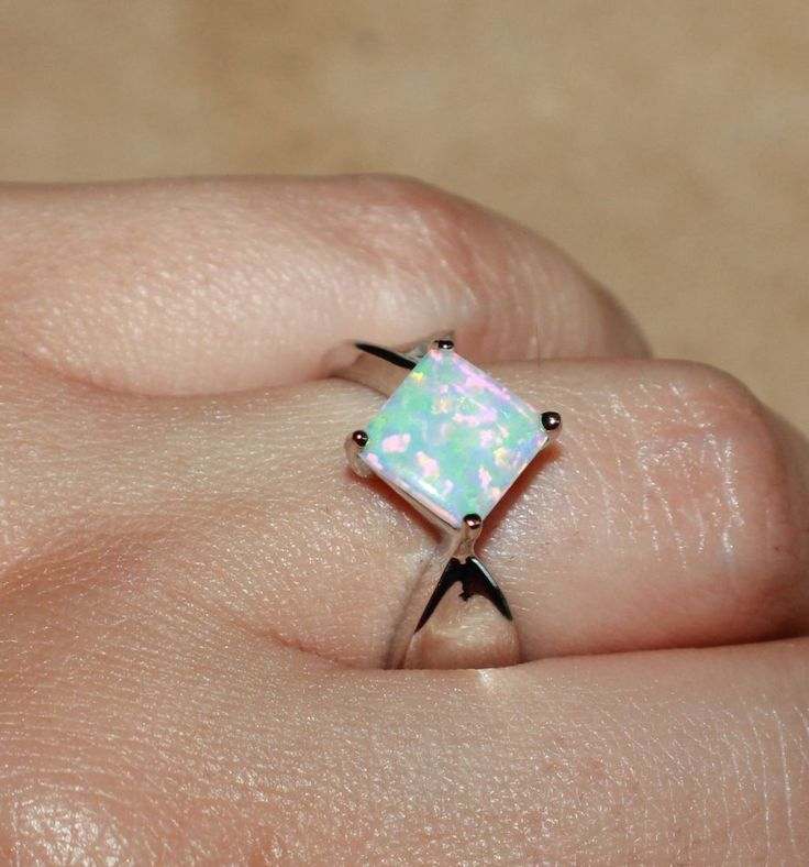white fire opal ring gems silver jewelry Sz 7.5 modern engagement cocktail L3