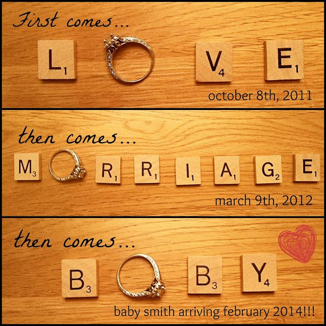 78 Best images about Pregnancy Reveal Photos – Scrabble Baby Announcement