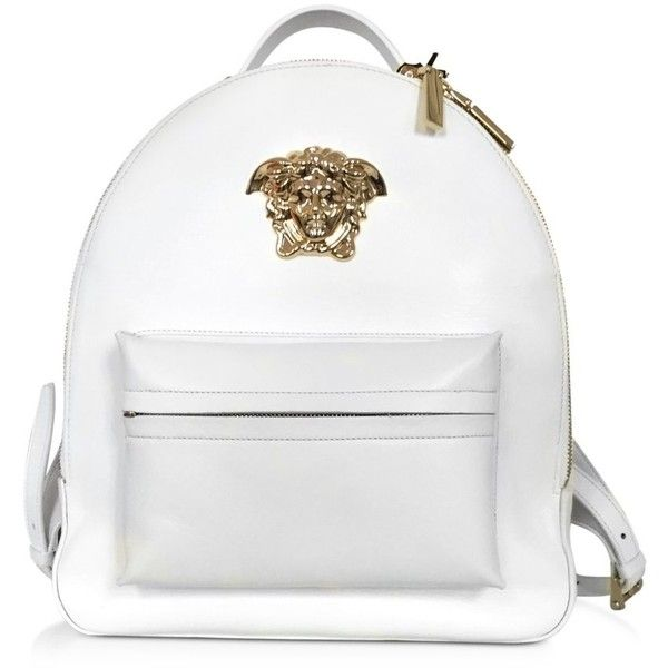 Versace Handbags Medusa Palazzo White Nappa Leather Backpack (€2.045) ❤ liked on Polyvore featuring bags, backpacks, white bags, rucksack bag, versace, zip top bag and white backpack