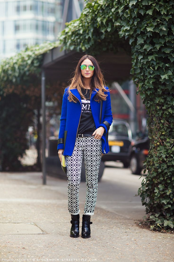 Love the cobalt blue and the patterned pants