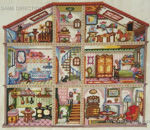 Doll House Digital Cross Stitch Pattern in pdf. 443 best        images on Pinterest   Embroidery stitches