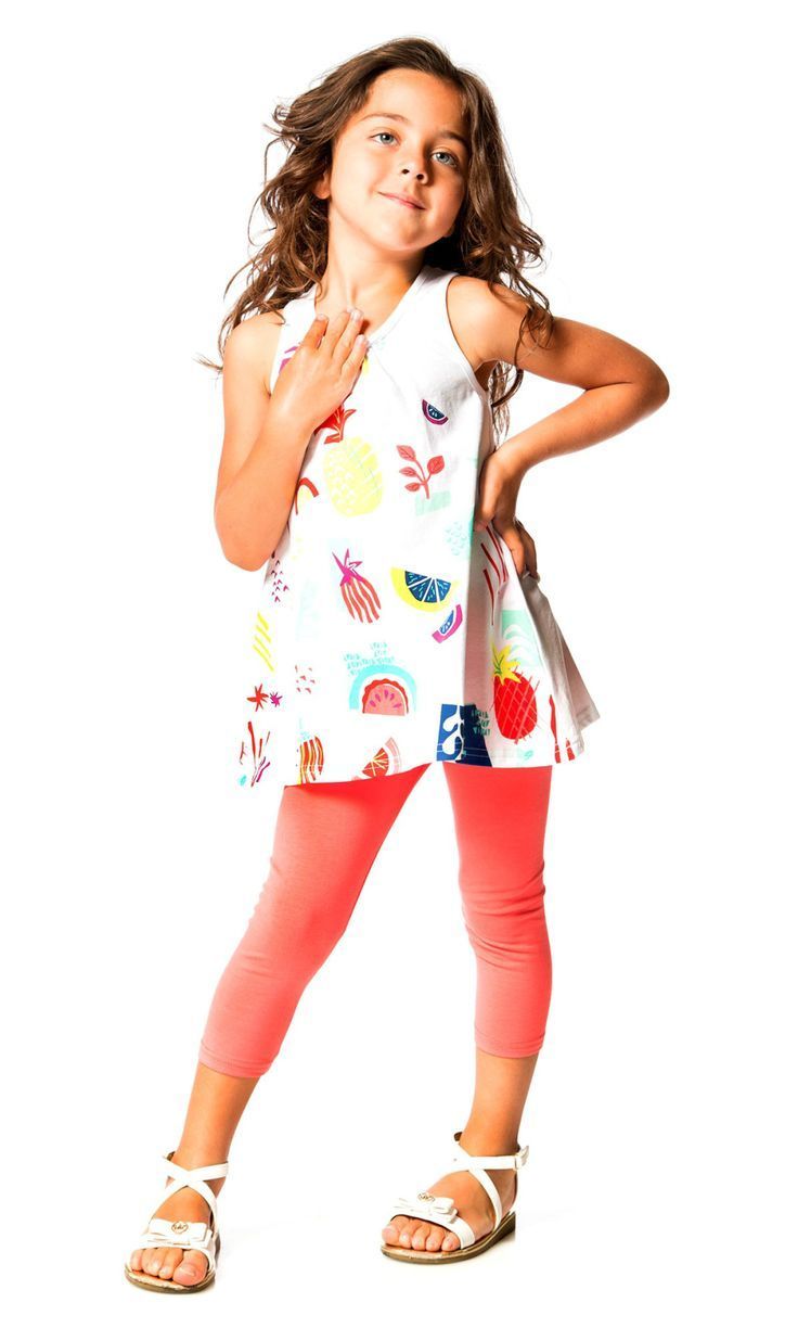 Pineapples, lemons, and tropical fruits add bold color and vibrant personality to the Cold Press Fashion Two Piece Jersey Set in white. Made from cotton/spandex jersey, this set includes a sleeveless white tunic tank with a colorful chest print, a racerback, and a scoop neckline.  Shop now at deuxpardeux.com #kidsstyle #dress #littlegirl #kidsfashion #littleboy #kidswear Follow our Pinterest page at @deuxpardeuxKIDS
