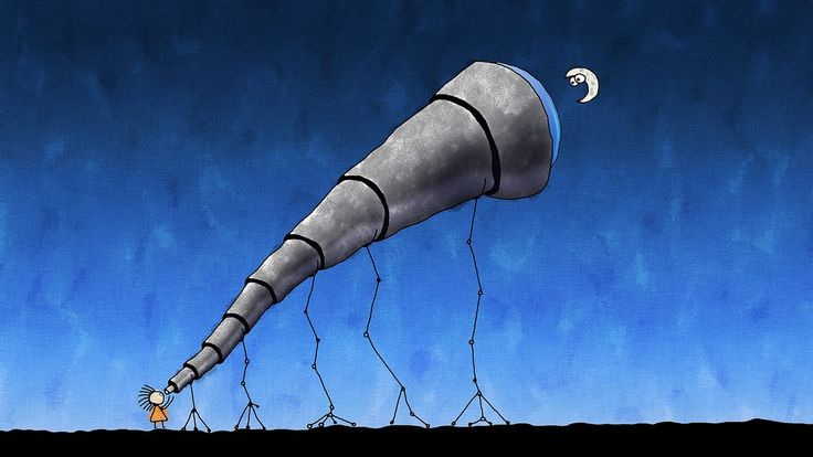 telescopio, monigote, luna, dibujo, noche, 1702032109