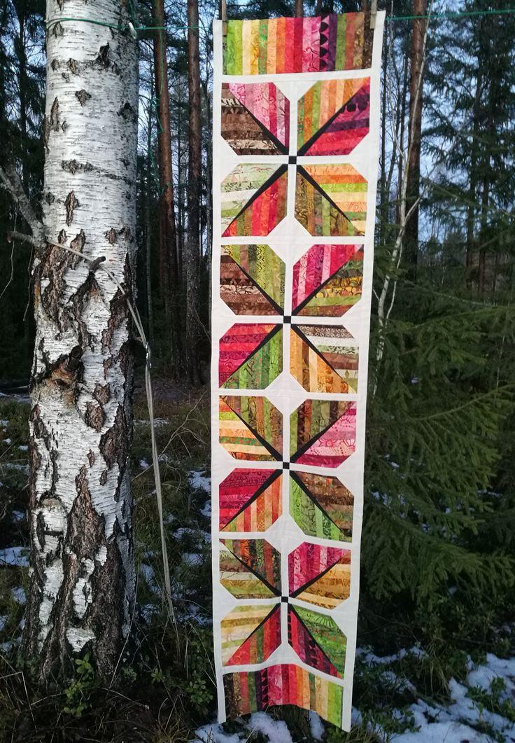 Lövblock quilt som en löpare. Leaf, leafblock, tablerunner.