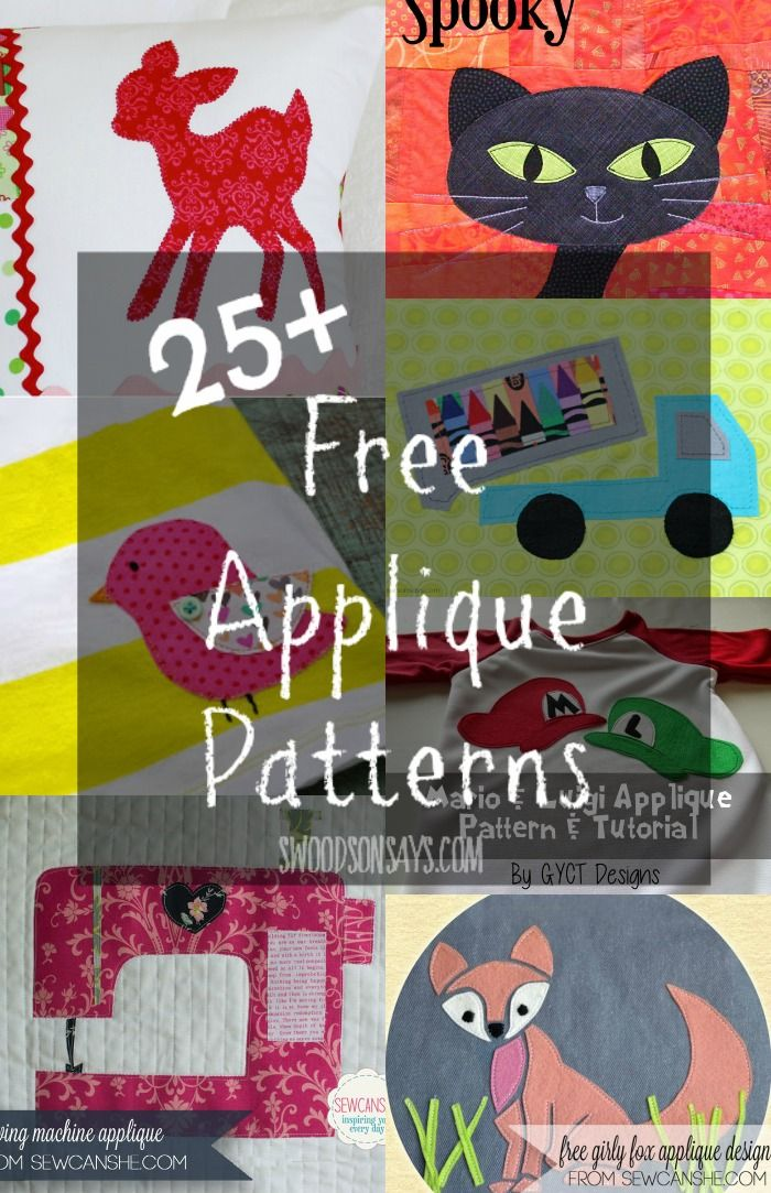 Over 25 Free Applique Patterns - perfect for using up knit and woven scraps to personalize t-shirts, pillowcases and more! Round-up on Swoodsonsays.com