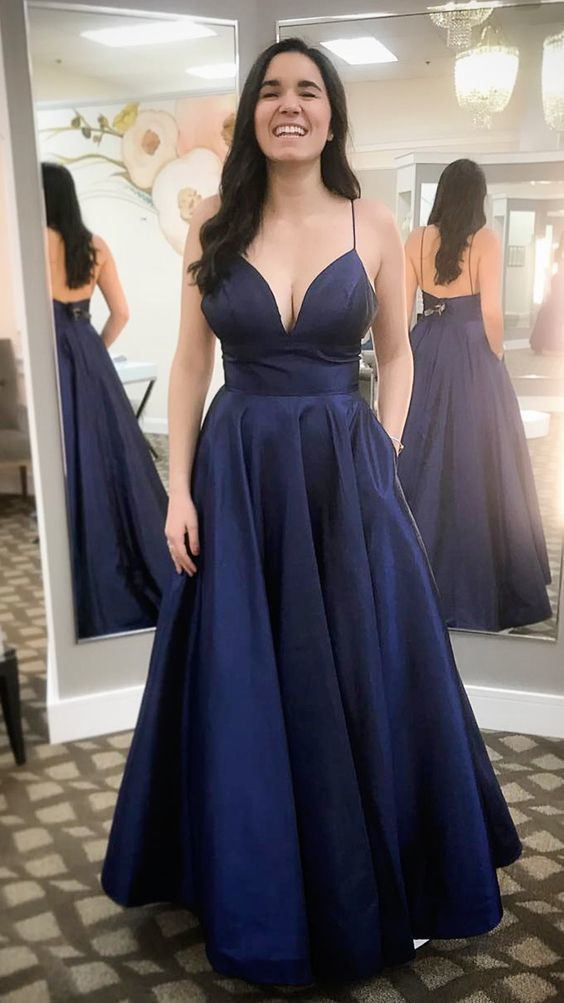 ea8aea9a52d Elegant Straps Navy Blue Long Prom Dress Party Dress by RosyProm ...