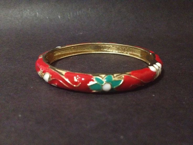 Per Owned Red Cloisonne Enamel Flowers Bangle - Openable Hinged