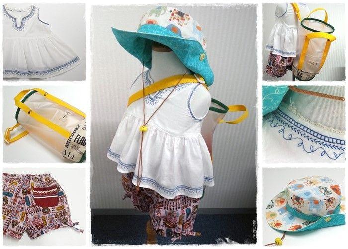 余っている布を活用して、夏に向けたキッズ用のテンガロンハットとトップス、ビーチバッグ、ショートパンツを作りました◎ トップスの首回りと袖口、裾にはミシンに搭載されている縫い模様を入れて、刺繍風に(^^) Utilizing remainder cloth, cowboy hats, tops, beach bags and shorts created handmade for kids in summer season. Featuring stitch patterns built-in with the sewing machine, neckline, armhole, and hem of tops finished like embroidery.  #summer #cowboyhat #shorts #sewing #forkids #beachbag #handmade