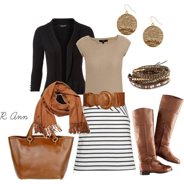fall clothes: Style, Dress, Fall Outfits, Belt, Brown, Fall Fashion, Striped Skirts, Work Outfit, Fall Winter