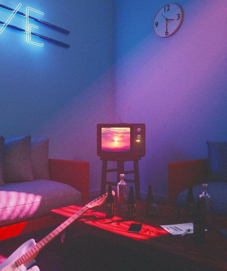 aesthetic guitar 3d 90s neon retro blender