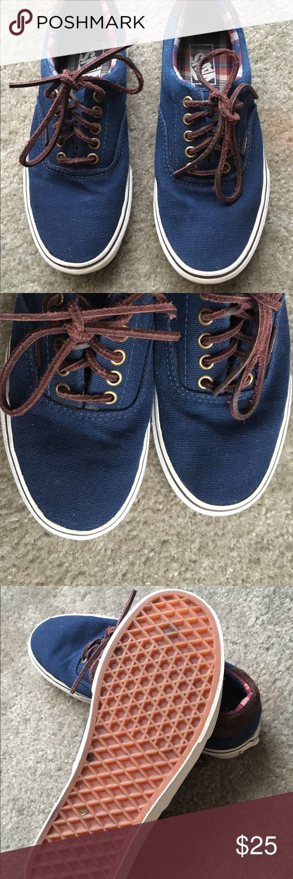 Men's VANS tennis shoes size 6.5 In excellent used used once leather laces comes with original box ( the box is a little beat up from storage but in good condition) Vans Shoes Athletic Shoes