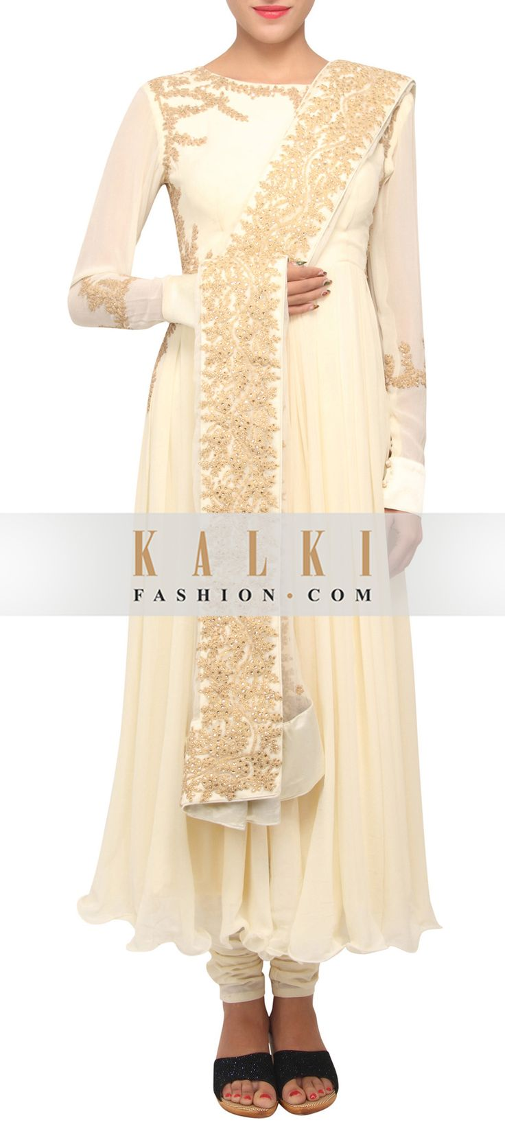 Buy Online from the link below. We ship worldwide (Free Shipping over US$100) http://www.kalkifashion.com/vanilla-cream-coloured-embellished-anarkali-suit-with-dupatta-only-on-kalki-13069.html