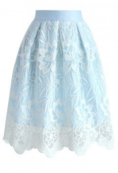 Lotus Fairy Pleated Skirt in Sky Blue - Bottoms - Retro, Indie and Unique Fashion