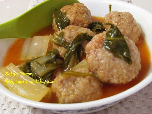 Dumpling soup-Kibbe Shifta, a Jewish Iraqi dish for Passover. The dumpling is made from a mixture of half ground rice and chicken breast, the filling is beef with a lot of goodies.