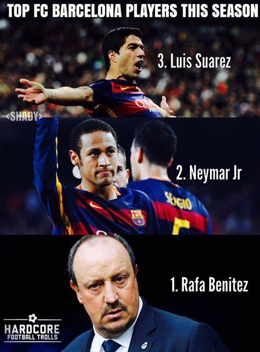 Para pemain FC Barcelona  terbaik musim ini. :v Rafael Benítez? :D Via: Hardcore Football Trolls