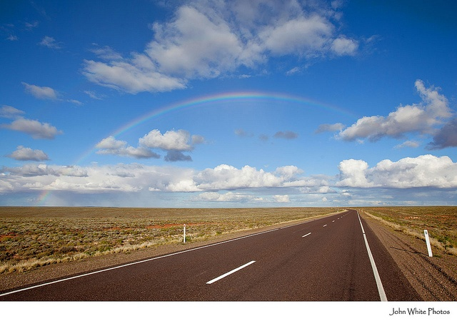 Have travelled this Highway. Rainbow over Stuart Highway. Woomera. Central Australia. by john white photos, via Flickr