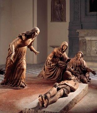 Napoli. Chiesa di monteoliveto, o sant'anna dei lombardi, compianto sul cristo morto di guido mazzoni, 1492