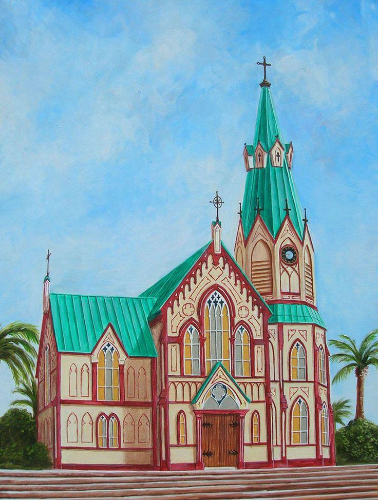Acuarela de Johnny Vásquez Osorio, acuarela de 30x40, Iglesia San Marcos, 2010
