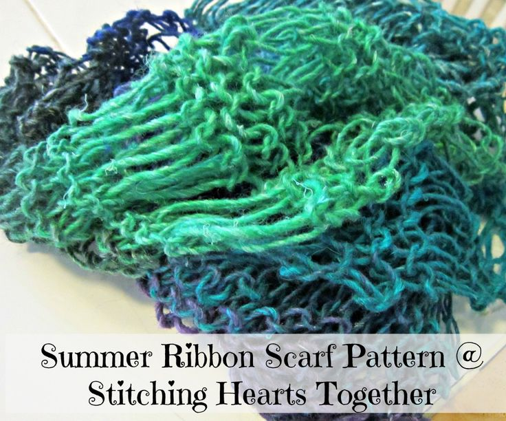 Free Knitting Patterns For Ribbon Scarves : Summery Ribbon Scarf Pattern (Knit) knitting Pinterest